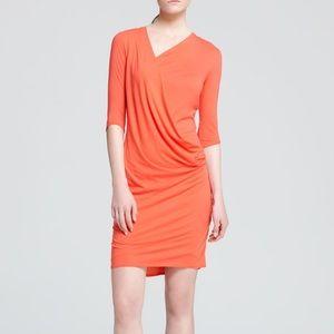 Helmut Lang Feather orange torch drape dress
